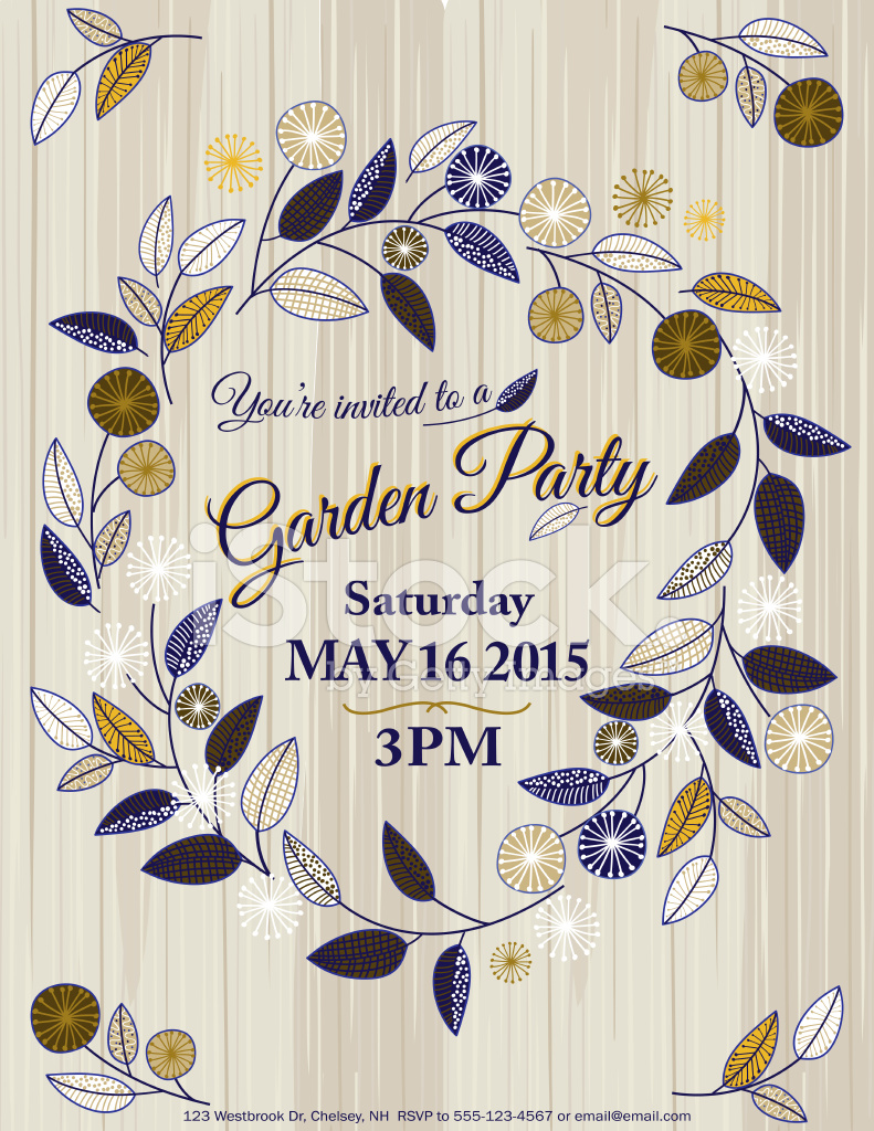 Wildflowers Spring Garden Party Invitation Template Stock Vector ...
