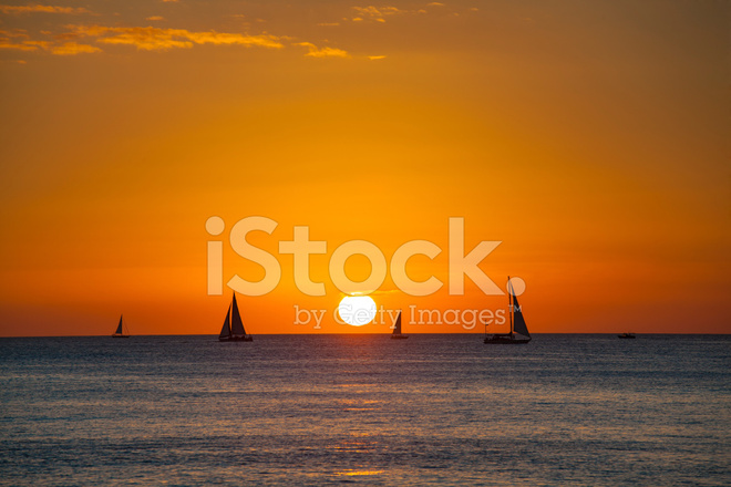 Sunset Sailing On Waikiki Beach Honolulu Hawaii Stock