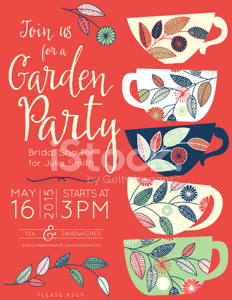 Garden Party Tea Bridal Shower Invitation Template Stock Vector ...