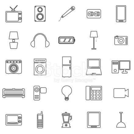 Elektrische Maschine Linie Symbole Auf Weißem Hintergrund Stock ...