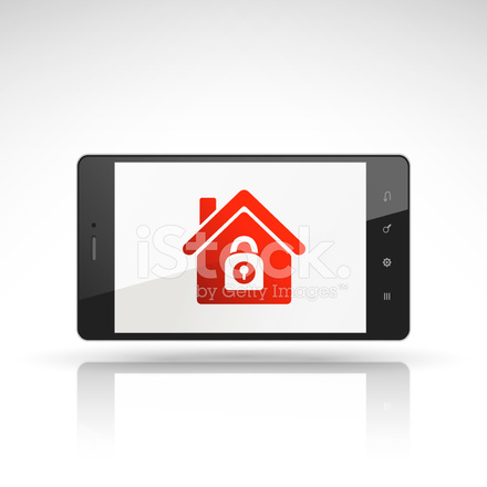 House Security Icon On Mobile Phone Stock Photos Freeimages Com