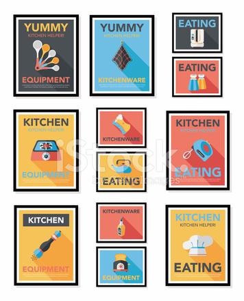 Utensili Da Cucina Poster Piatto Banner Design Sfondo Piatto Eps10 ...