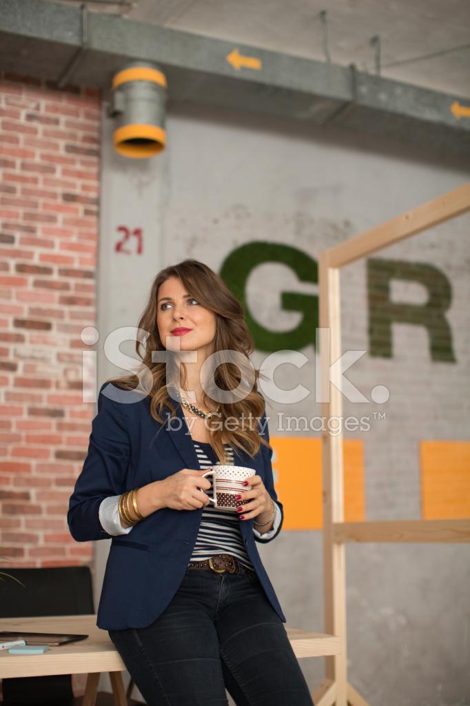 Woman Working AT Modern Stock Photos