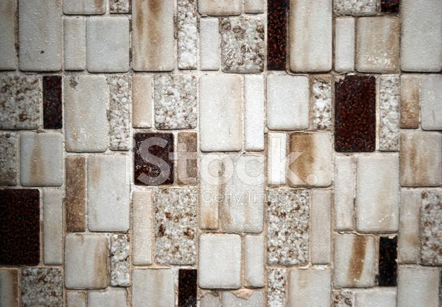 Trama mosaico piastrelle bianche e marroni fotografie stock