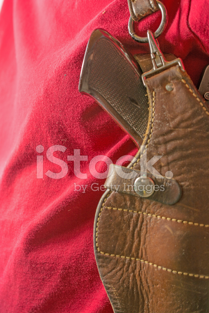 Semi Automatic Pistol and Firearm Shoulder Holster on Man ...