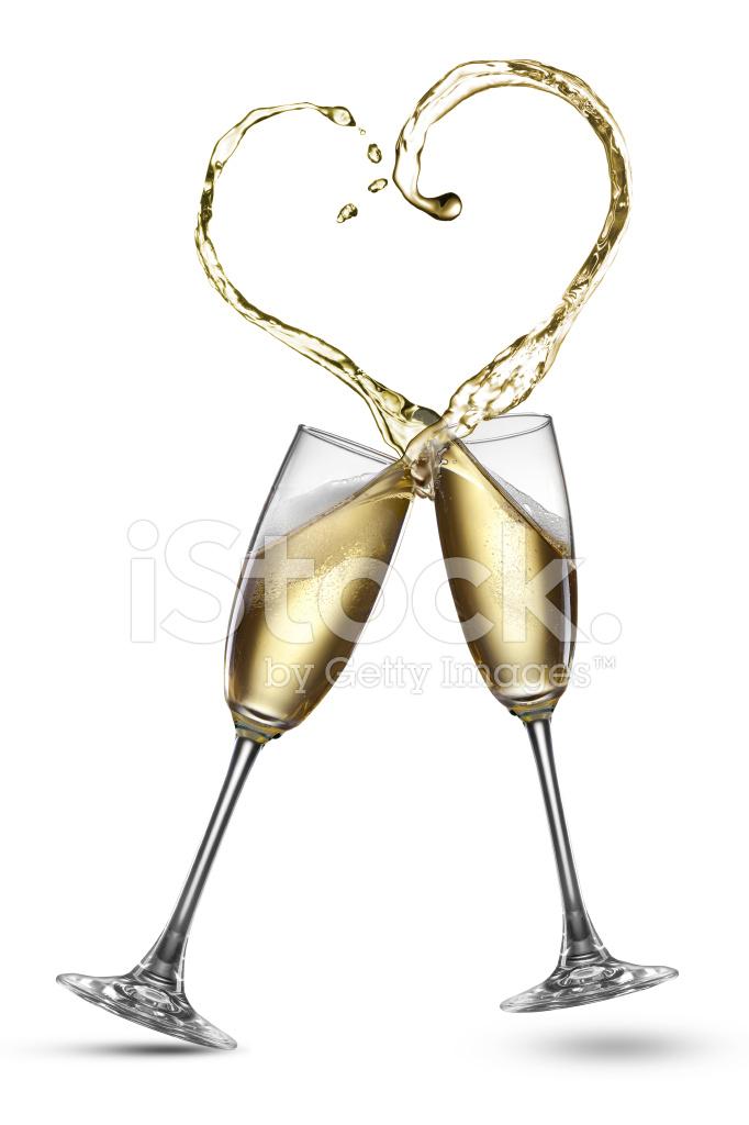 香槟飞溅在孤立的心的形状 照片素材 Freeimages Com