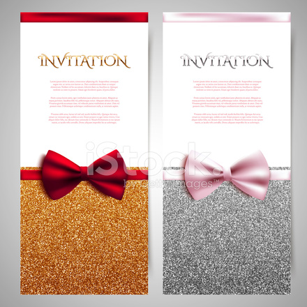 Vector invitation cards with shiny glitter and decorative bows stock premium stock photo of vector invitation cards with shiny glitter and decorative bows stopboris Image collections