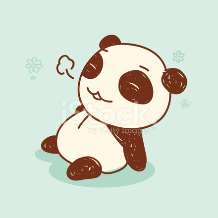 Cute Relieved Panda Retro Style Stock Vector Freeimages Com
