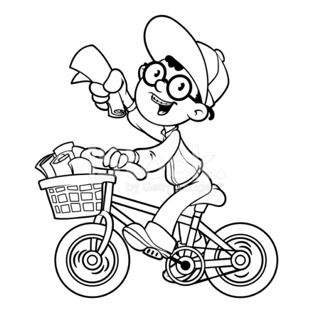 cartoon paper boy by bike outline on a white background - Outline Cartoon Pictures