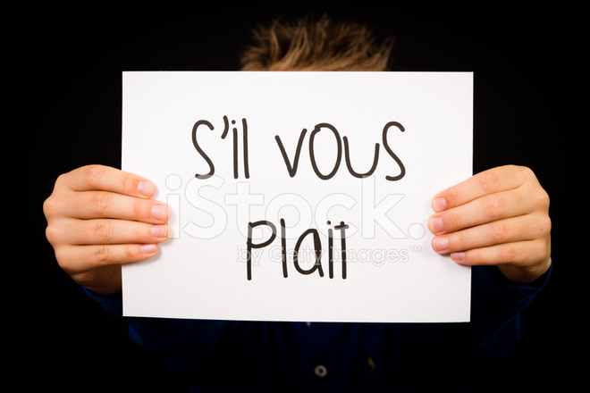child with french words s il vous plait please stock photos. Black Bedroom Furniture Sets. Home Design Ideas