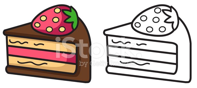 Boyama Kitabı Için Izole Renkli Ve Siyah Beyaz Pasta Stock Vector