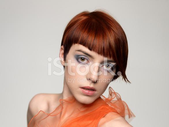 Hermosa Mujer Modelo Con Peinado Retro Fotografias De Stock