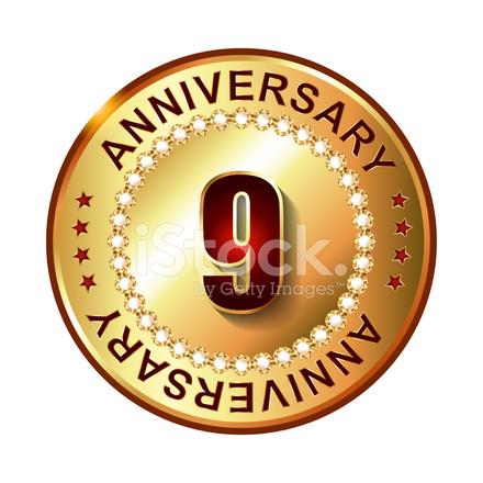 Anniversario Matrimonio 9 Anni.9 Years Anniversary Golden Stock Vector Freeimages Com