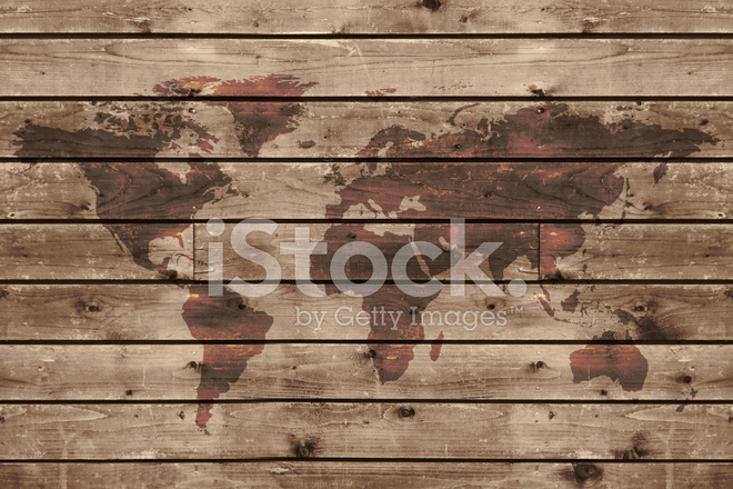 Old Wood Texture With World Map Stock Photos - FreeImages.com