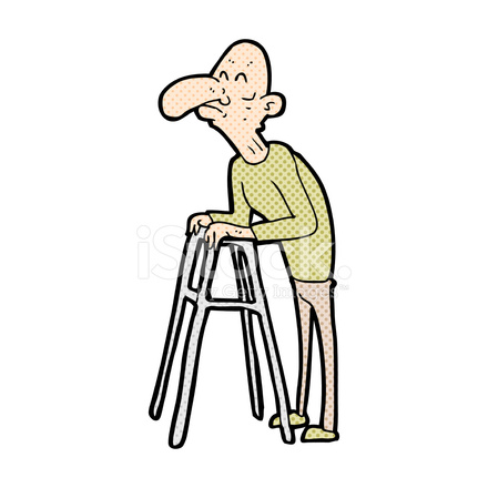Comic Cartoon Old Man With Walking Frame Stock Vector - FreeImages.com
