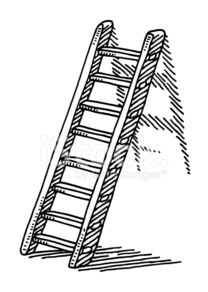 ladder on a wall drawing stock vector