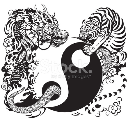 Yin Yang With Dragon And Tiger Fighting Stock Photos