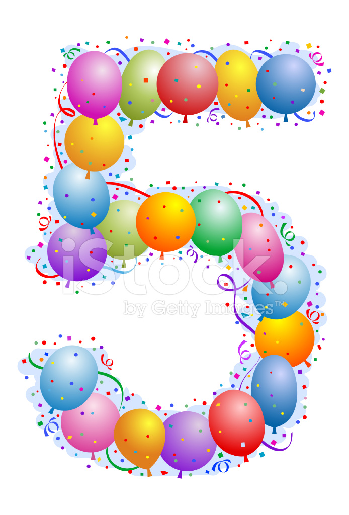 Balloons and Confetti Number Five Stock Vector - FreeImages com
