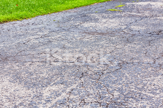 Blacktop Asphalt Driveway Damaged and Cracked stock photos ...