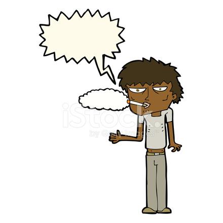 Fumador DE Dibujos Animados Con LA Burbuja Del Discurso