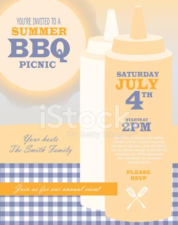 Piknik Grill Party Krem I Niebieskie Kolory Zaproszenie Projekt Te