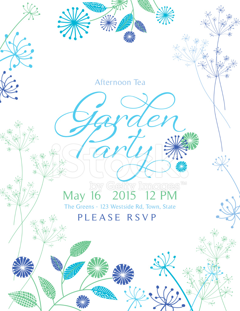 Wild Flower Design Garden Party Invitation Stock Vector