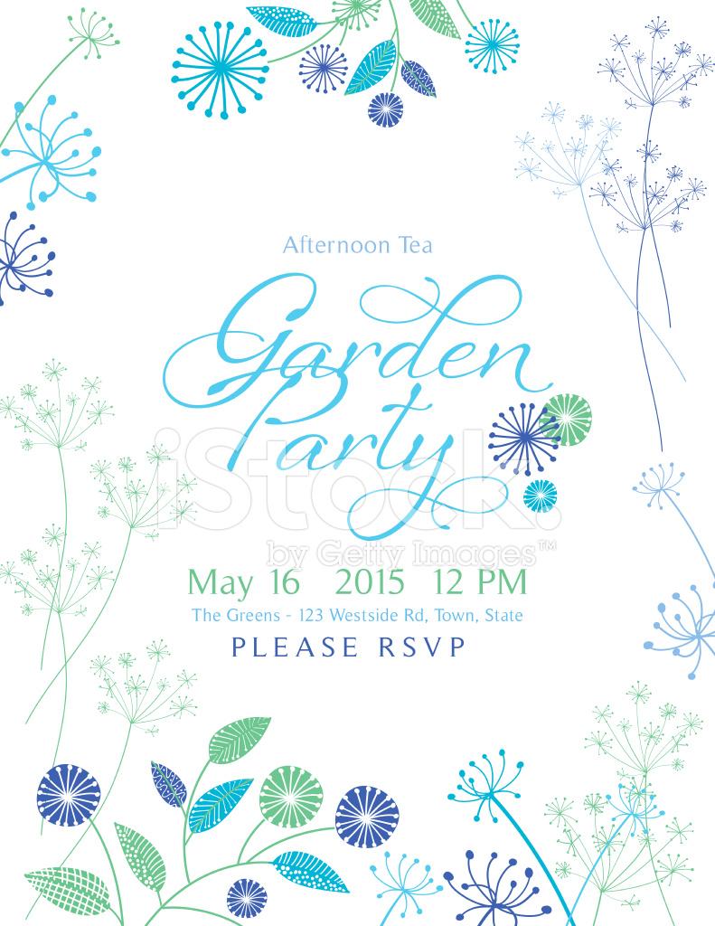 Wild flower design garden party invitation stock photos for Garden party flower designs to color