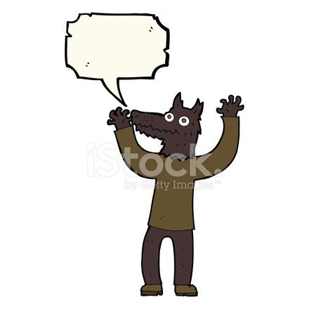 Uomo lupo di cartone animato con nuvoletta stock vector