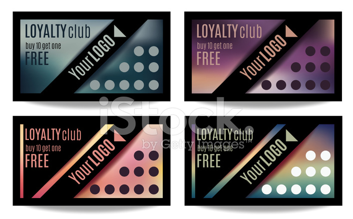 Set Of Four Customer Loyalty Card OR Reward Card Templates Stock - Loyalty card template