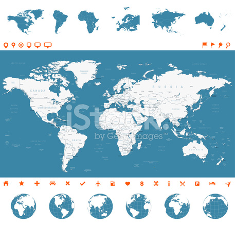 Karte Kontinente Welt.Welt Karte Globen Kontinente Navigationssymbole Abbildung