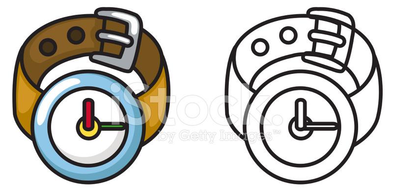 Reloj Colorido Y Blanco Y Negro Para Colorear Libro Stock Vector ...