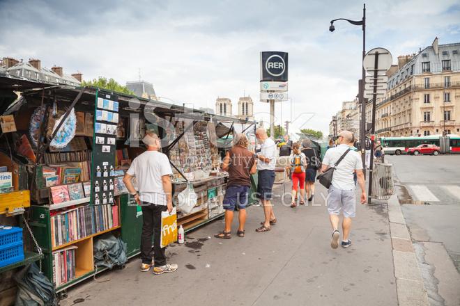Art and Souvenir Shops With Walking People, Paris, France