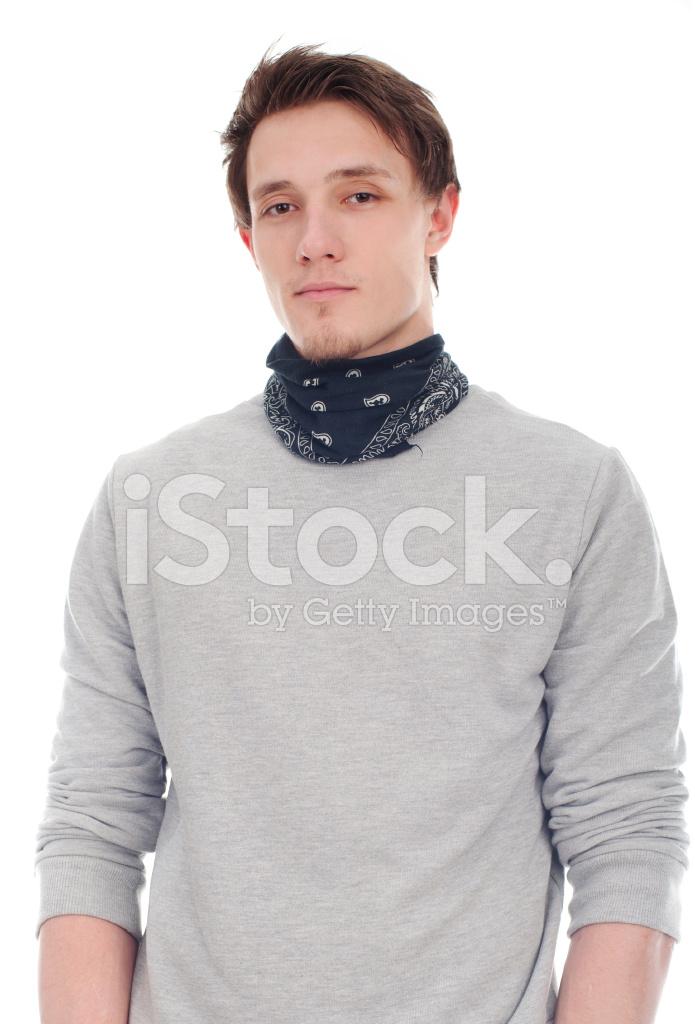Gut Aussehender Mann In Isoliert Auf Einem Weissen Halstuch