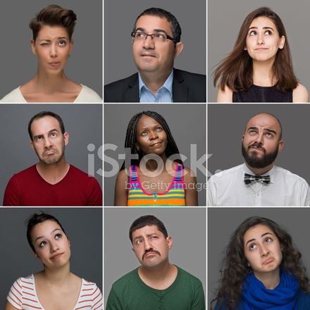 Tankeväckande Ansiktsuttryck På Nio Olika Personer Stockfoton