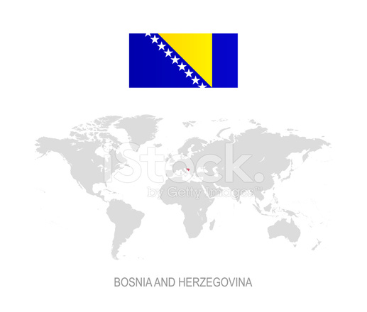 Flag Of Bosnia And Herzegovina And Designation On World Map Stock - Where is bosnia on a world map