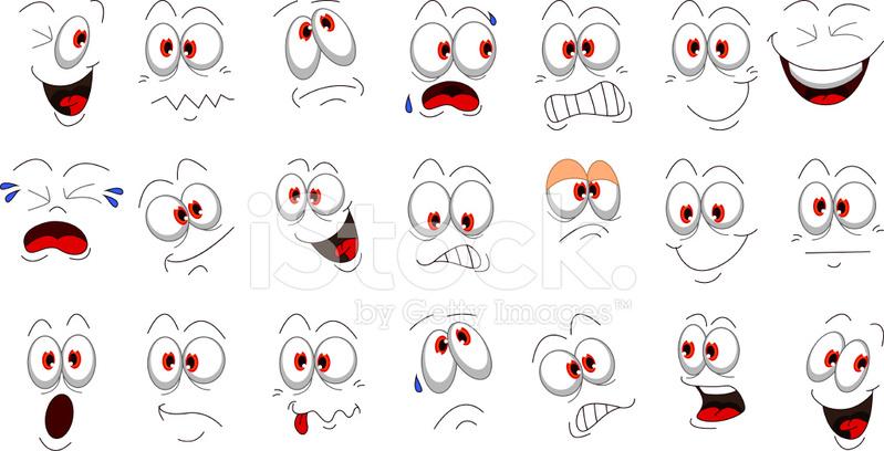 Emociones De Cara De Dibujos Animados Para Tu Diseño Stock Vector