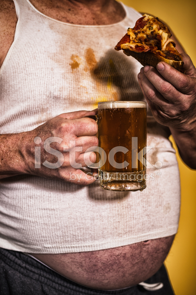 Fat Old White Man With Pizza And Beer Stock Photos -6304