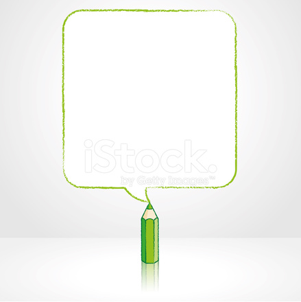 green pencil drawing smooth square speech balloon
