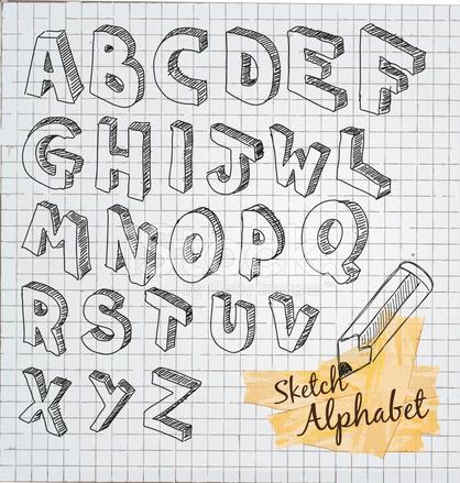 Hand Drawn 3D Sketch Alphabet