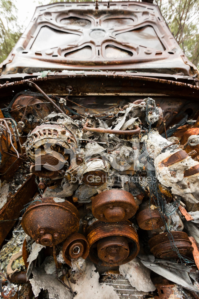 Burnt Out Fire Damaged Car Engine Stock Photos