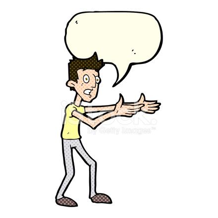Karikatur Mann Verzweifelt Zu Erklären, MIT Sprechblase stockfotos ...