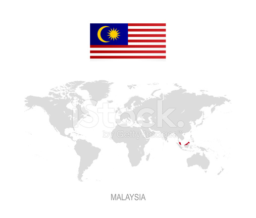 Malaysia On World Map Map: 말레이시아와 세계 지도에 지적의 국기 Stock Vector