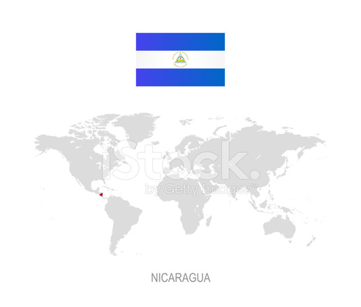 Flag Of Nicaragua And Designation On World Map Stock Vector - Where is nicaragua on the world map