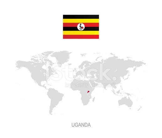Flag of Uganda and Designation on World Map Stock Vector ...