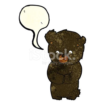Orso nero simpatico cartone animato con nuvoletta stock vector