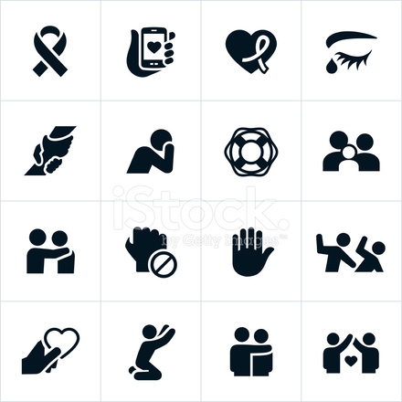 domestic violence and abuse awareness icons stock vector