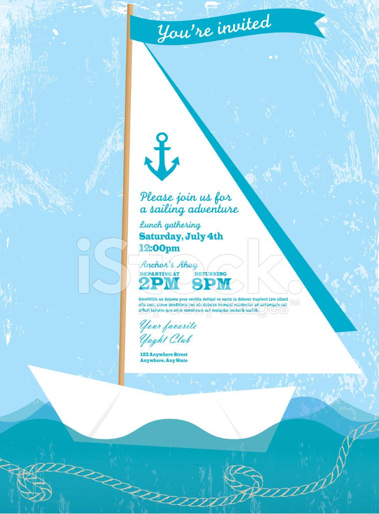 Paper Sailboat Sailing and Yahting Invitation Design Template Stock ...