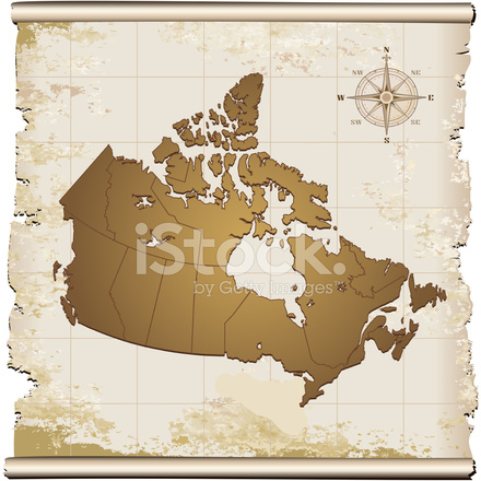 Canada map with compass rose on brown background stock for Atlante compass
