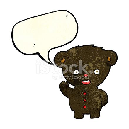 Cucciolo di orso nero sventolando cartone animato con nuvoletta