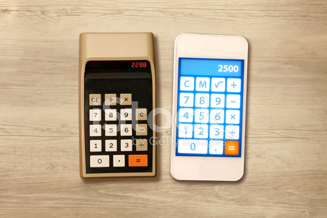 Technology Evolution Comparing Smartphone With A Calculator Fro